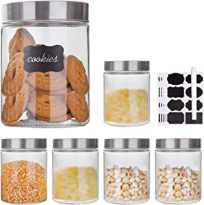 Glass Storage Jars with Stainless Steel Lids For The Kitchen,Set of 6,44 oz