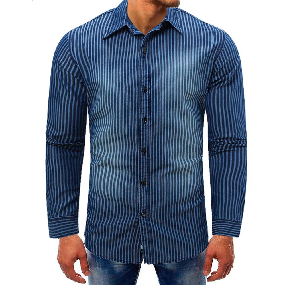 Mose Pinstripe Shirt for Men Fashion Men Striped Denim Long-Sleeve Beefy Button Basic Solid Blouse Tee Shirt Top (Blue, M)