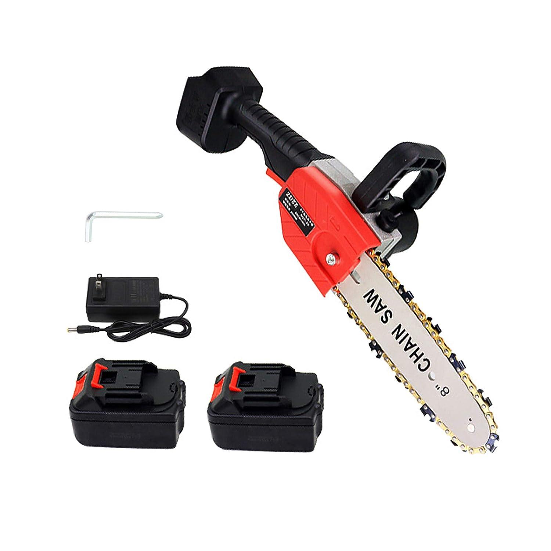 Motosierra portátil inalámbrica, sierra de podar eléctrica de 8 pulgadas para cortar madera, con 2 paquetes de baterías, rojo, 800 W, 1,65 kg de peso ligero
