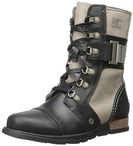 Sorel Women's Major Carly Snow Boot, Wet Sand, Black, 5 B US
