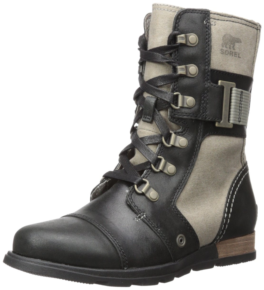 Sorel Women's Major Carly Snow Boot, Wet Sand, Black, 6 B US
