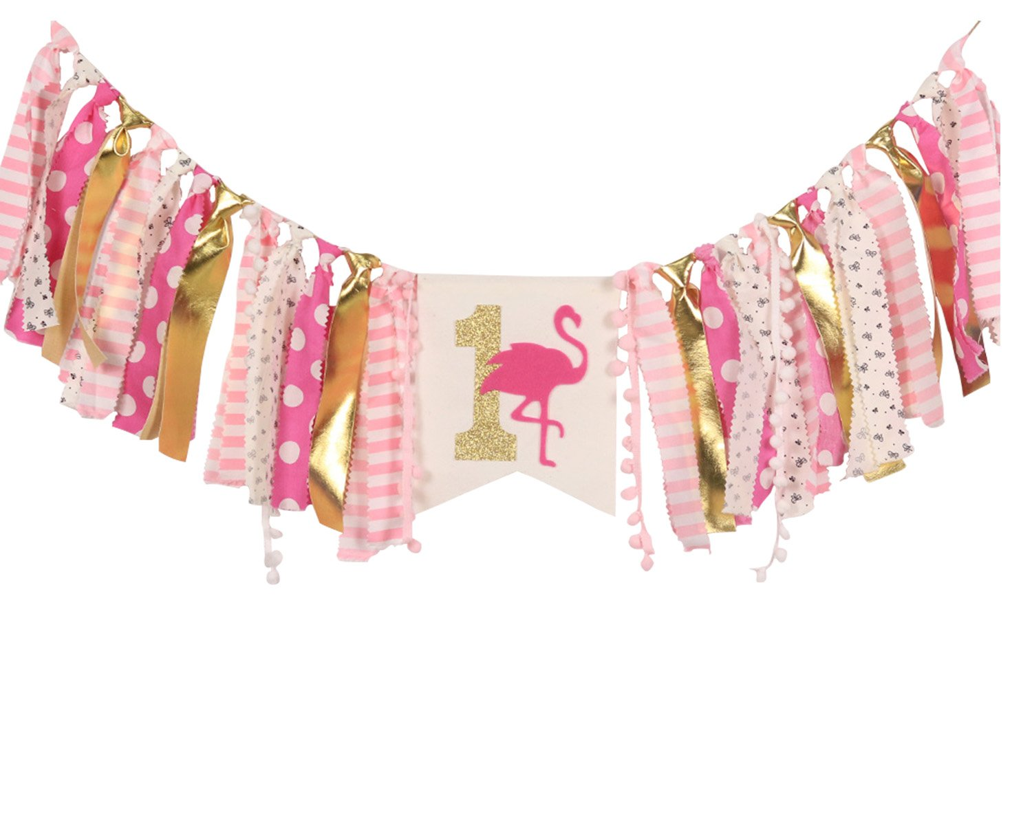 HighChair Banner for 1st Birthday - First Birthday Decorations for Photo Booth Props, Birthday Souvenir and Gifts for Kids, Best Party Supplies(Flamingo)