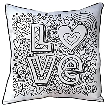 cushion for kidsadults to colour in size 38cm x 38cm love