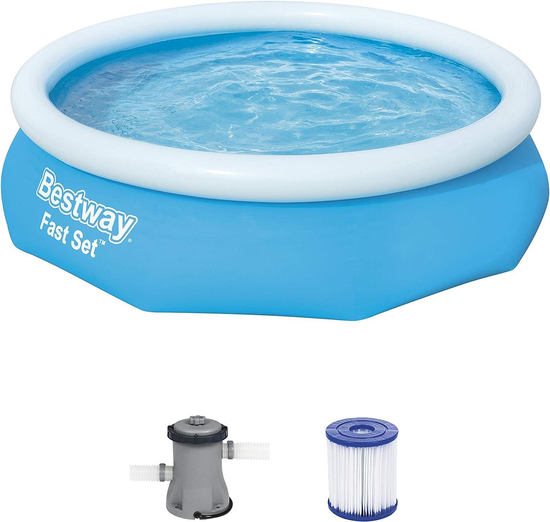 Bestway Fast Set Juego de Piscina con Bomba de Filtro, Azul, 305 x 76 cm