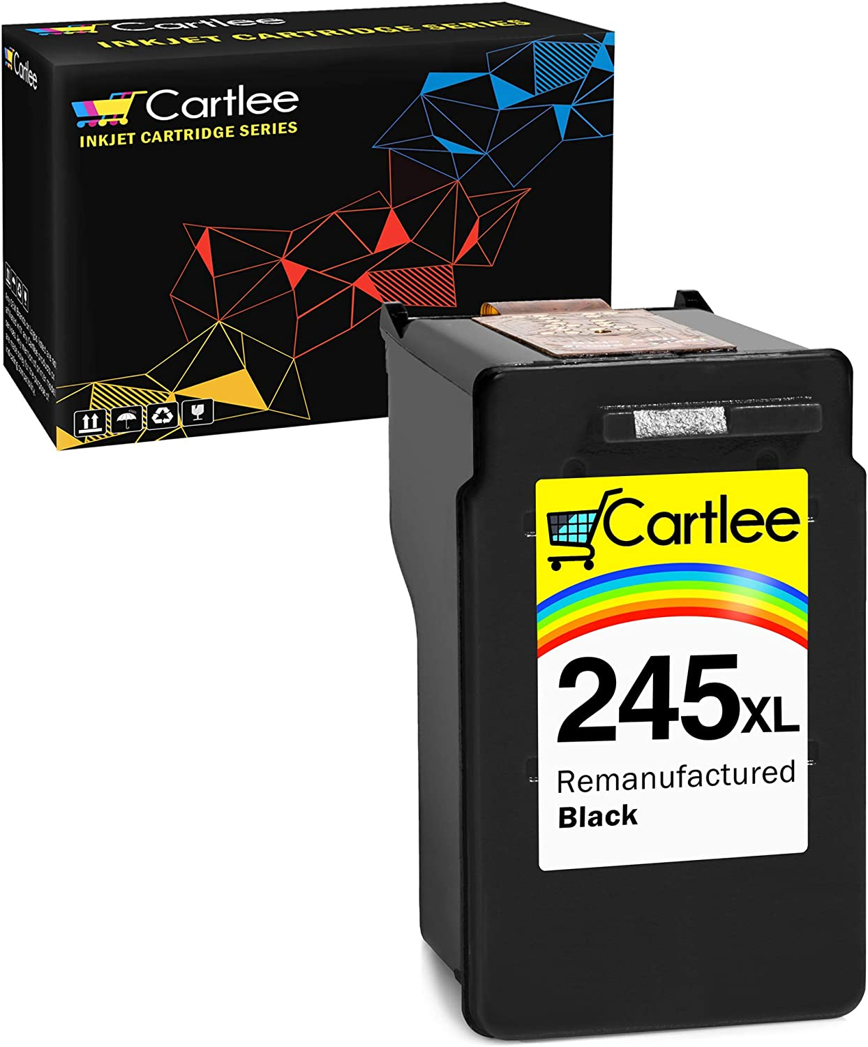 Cartlee 1 Black Remanufactured PG-245xl High Yield Ink Cartridges Replacement for iP2820 MG2420 MG2920 MG2922 MG2520 MG2924 MX492 - Shows Ink Level