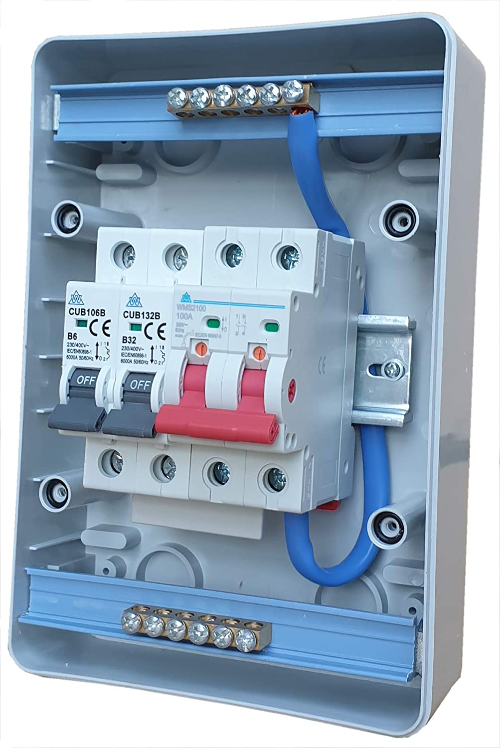 2 Way Consumer Unit 100 Amp Main Isolator Switch with 6 Amp and 32 Amp Type B MCB Circuit Breakers Garage Shed