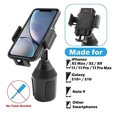 Cup Car Phone Holder, Insten 360 Degree [One Button Release] Adjustable Cradle Cup Holder Car Mount Compatible with iPhone 11/11 Pro/ 11 Pro Max/XS/XS MAX/XR/X/8/8Plus/7/7Plus, Galaxy S10/S9/S8/Note 9