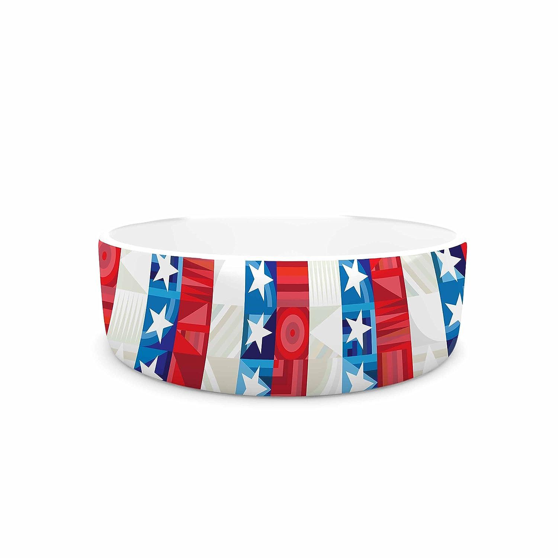 KESS InHouse Fimbis USA bluee Red Digital Pet Bowl, 7  Diameter