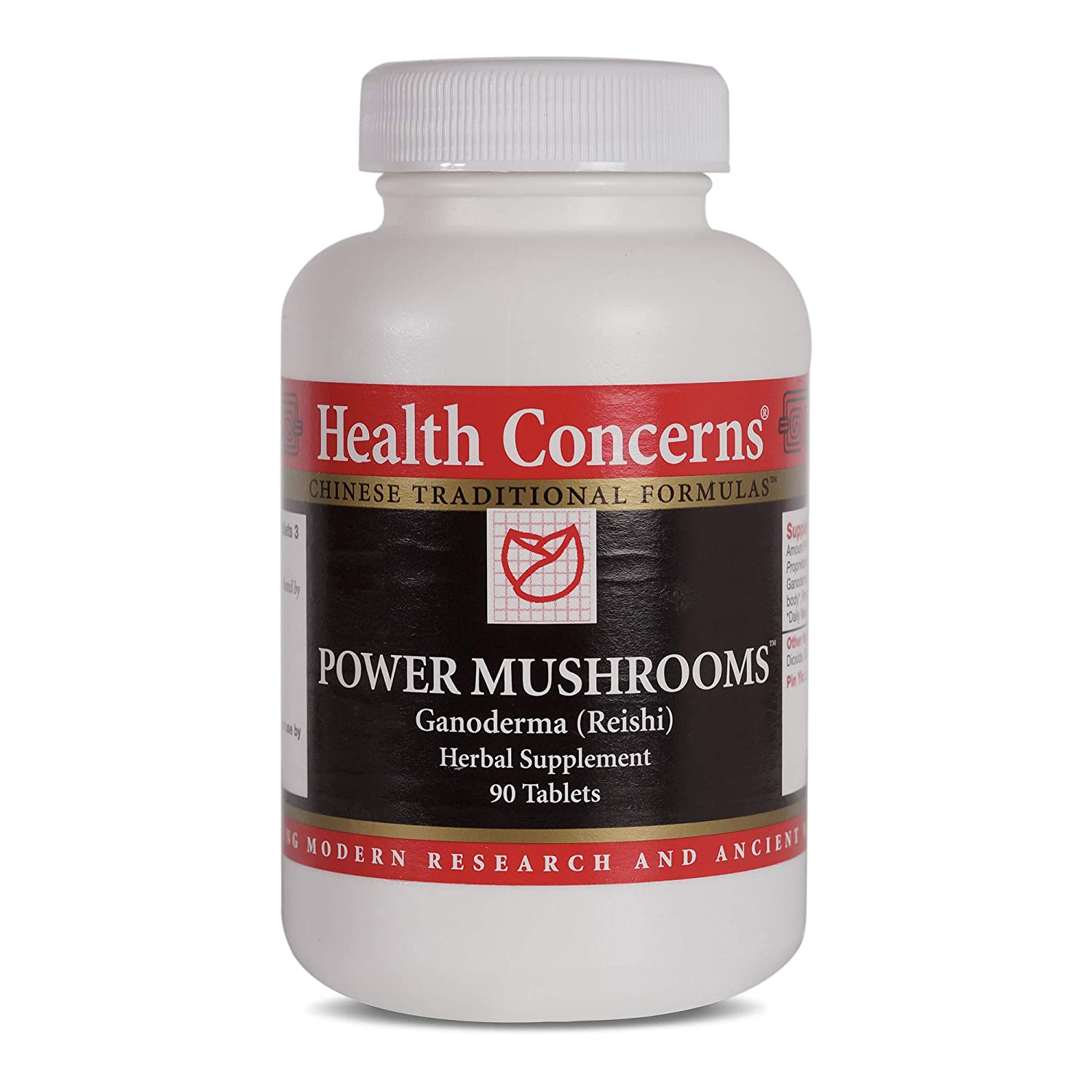 Health Concerns – Power Mushrooms – Ganoderma and Tremella Chinese Herbal Supplement – Enhances Immune Function – with Red Ganoderma Reishi Fruiting Body – 90 Tablets per Bottle
