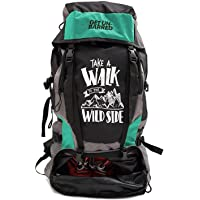 Mufubu Presents Get Unbarred 55 LTR Rucksack for Trekking, Hiking with Shoe Compartment (Black/Turquoise)