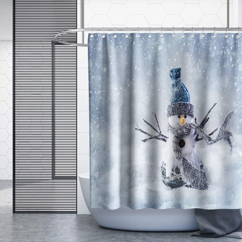Snowman Lace Fabric Shower Curtain 70Wx72L-WHITE White