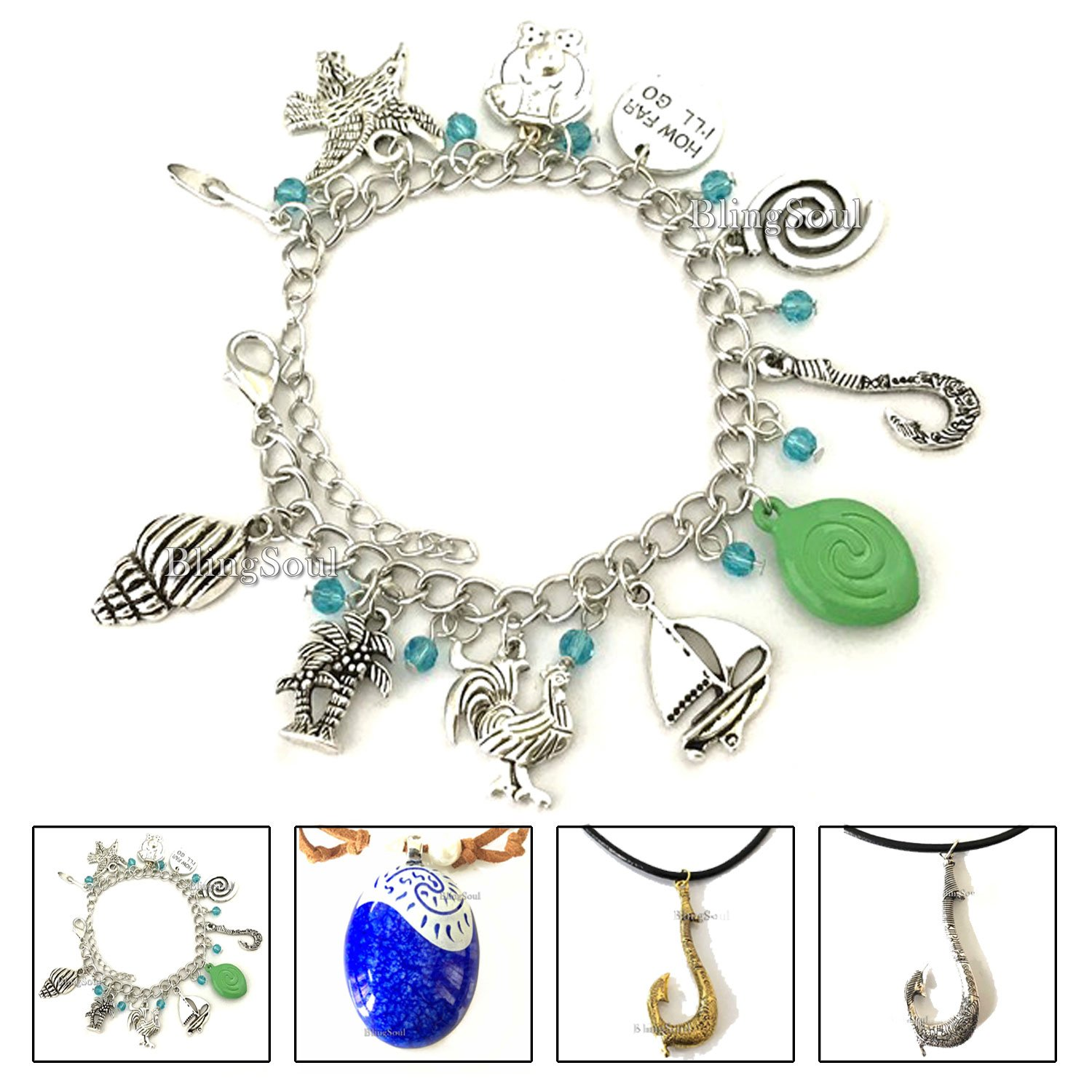 BlingSoul Maui Moana Charm Bracelet - Maui Hook Jewelry Moana Gift Merchandise for Women
