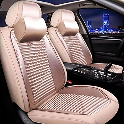 Universal 15 PCS Leather Car Seat Cushion Cover Front and Rear Full Set Seat Pad Airbag Compatible Protector Suitable for All-Year Use (Beige): Automotive