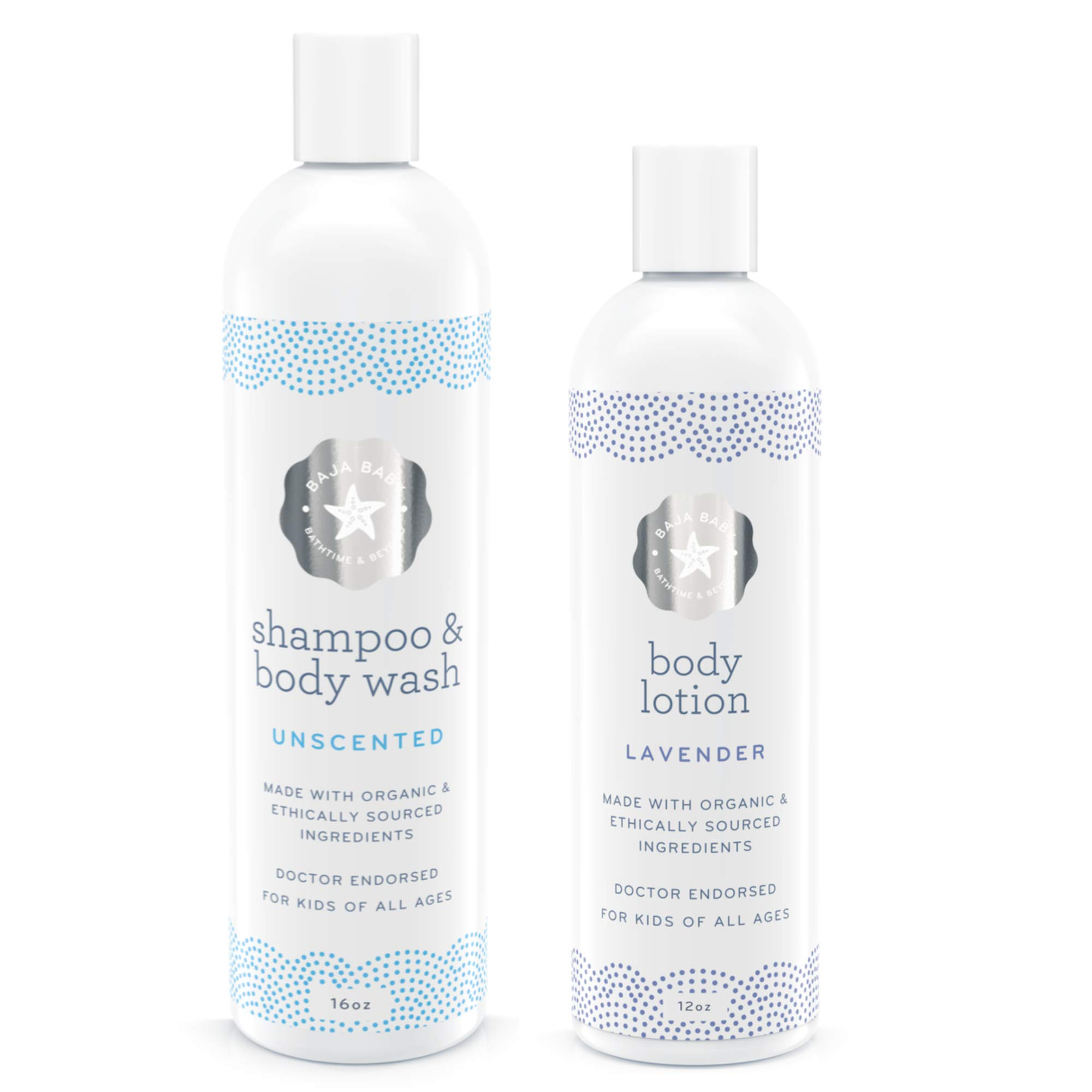 Set of 2 10% Off - Organic Unscented Shampoo & Lavender Lotion - All Natural Organic - EWG Verified - Vegan Gluten-Free Cruelty-Free - PETA Approved - Sensitive Skin and Cradle Cap by Baja Baby