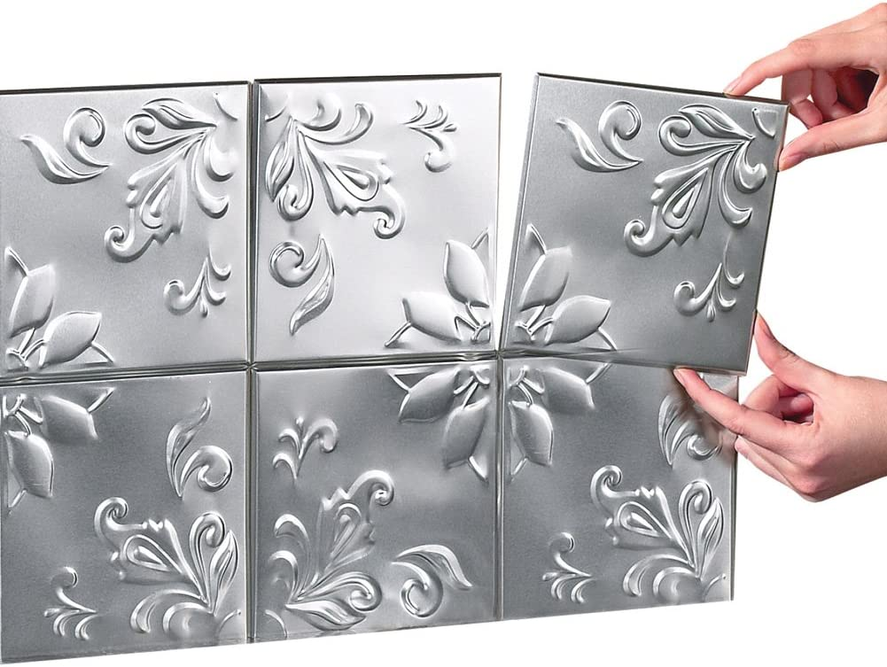 Amazon Com Tin Peel Stick Raised Floral Pattern Backsplash