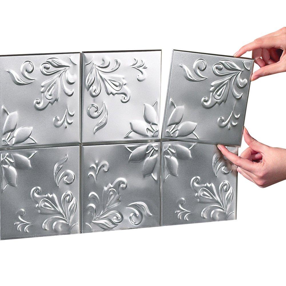 Tin Peel & Stick Raised Floral Pattern Backsplash, Kitchen, DIY Wall Tiles  - Set Of 16, Silver