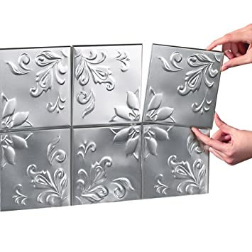 Tin Peel & Stick Raised Floral Pattern Backsplash, Kitchen, DIY Wall Tiles  - Set Of 16, Silver