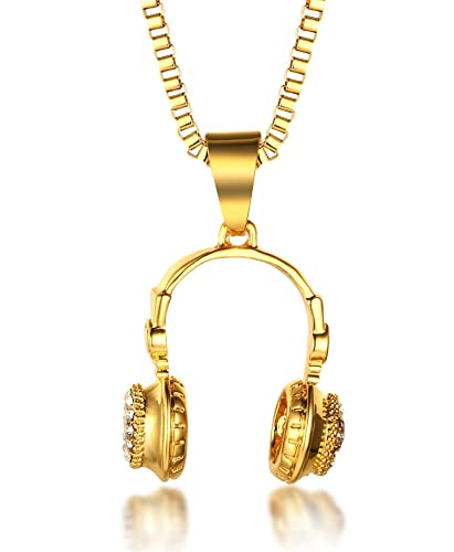 Halukakah little dj mens 18k real gold plated headphone halukakah quotlittle djquot mens 18k real gold plated headphone earphone pendant necklace with aloadofball Choice Image