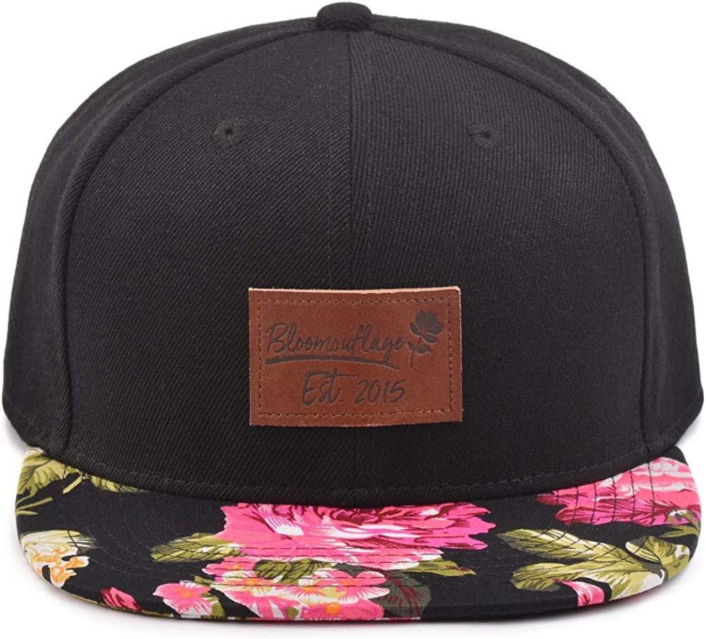 Bloomouflage Snapback Hat Multi-Colored Floral with Brown Leather Patch