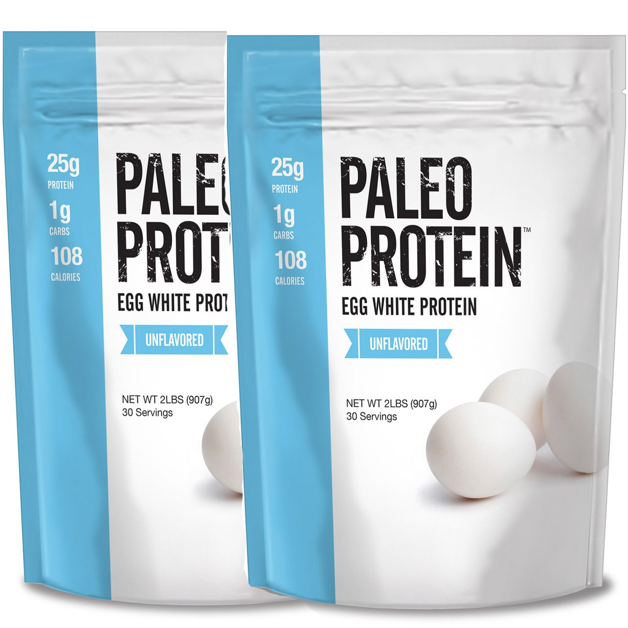 Paleo Protein Egg White Powder (4 LBS Total)(Soy Free)(60 Servings Total) (Two 2lbs Pouches)