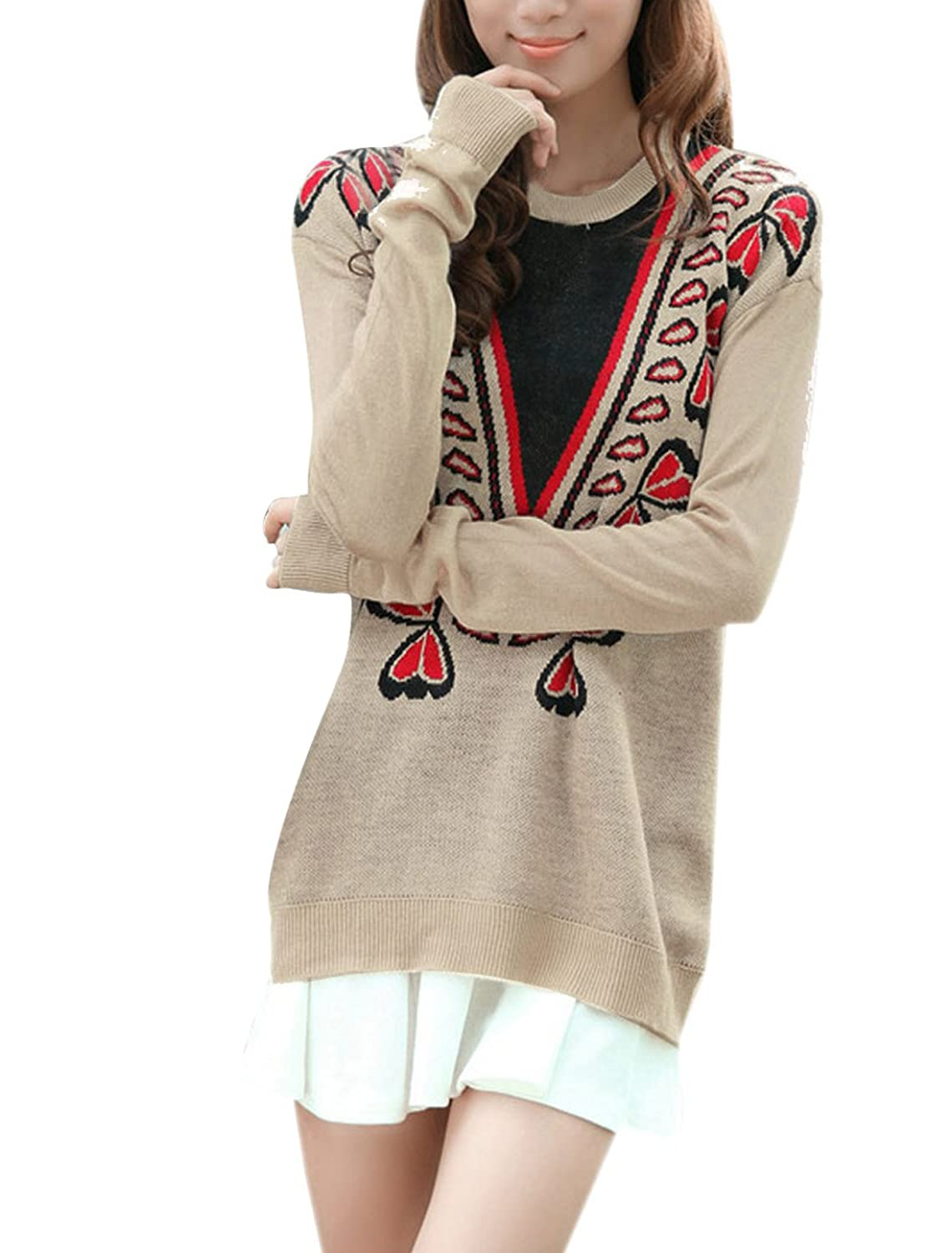 Women Pullover Long Sleeve Embroidery Pattern Ribbed Loose Knit Top