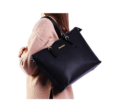 Schwarz Damentasche Leder Shopper Damen Mädchen Handtasche Schultertasche Tasche
