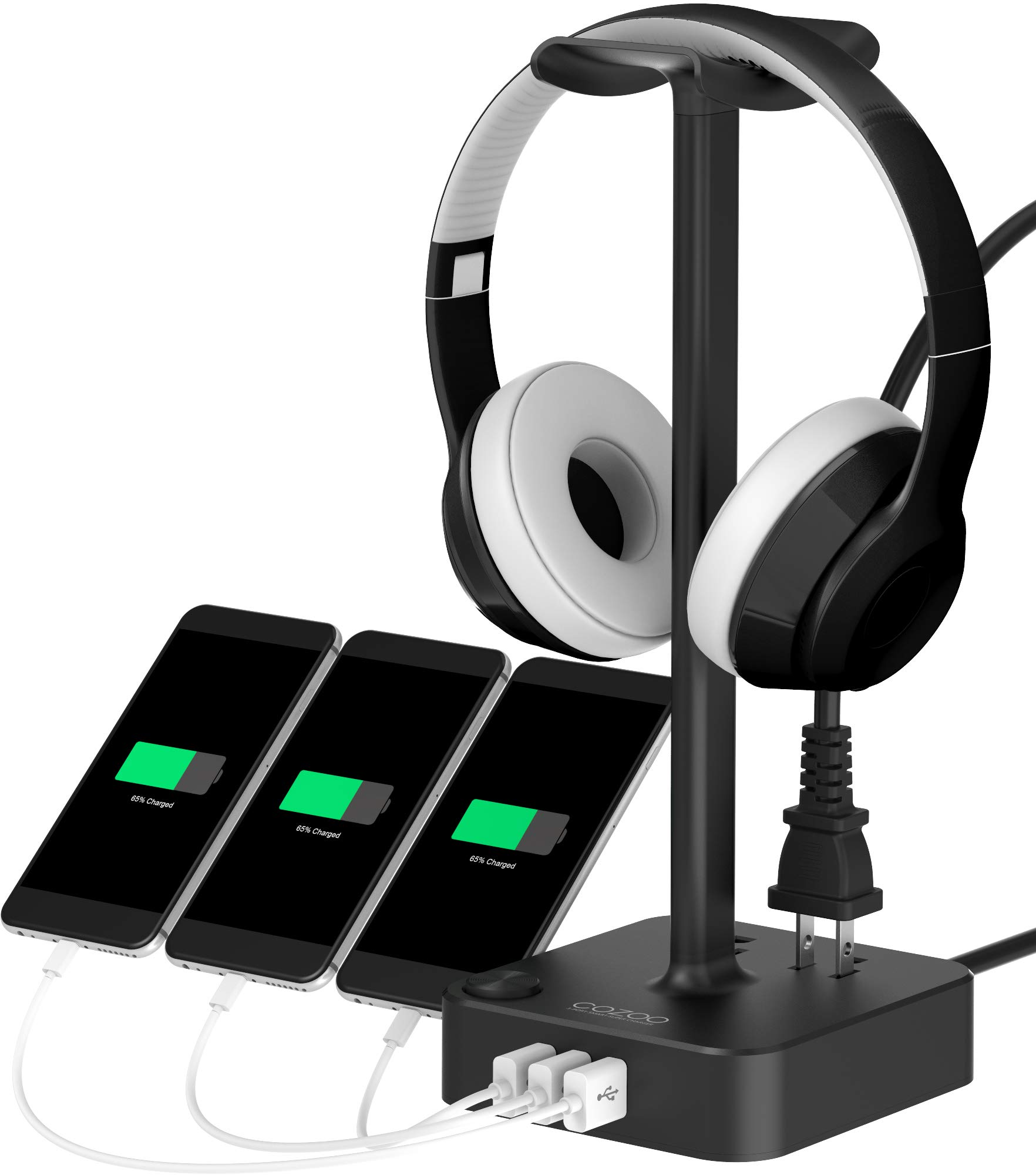 Headphone Stand with USB Charger COZOO Desktop Gaming Headset Holder Hanger with 3 USB Charger and 2 Outlets - Suitable for Gaming, DJ, Wireless Earphone Display (Black) by cozoo