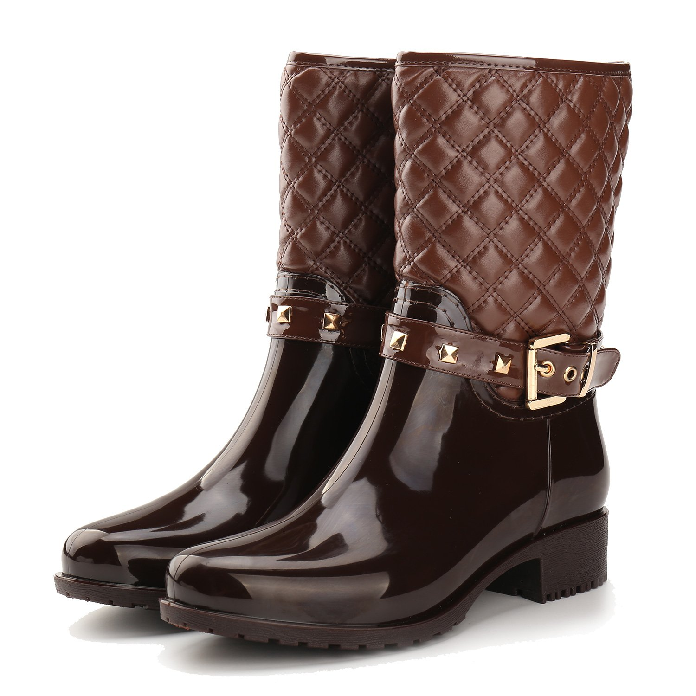 Alexis Leroy Women Checkered Diamond Pattern Studded Adjustable-Strap Warm-Keeping Rain Boots B00MUJLEJ0 36 EU / 5-5.5 US Brown