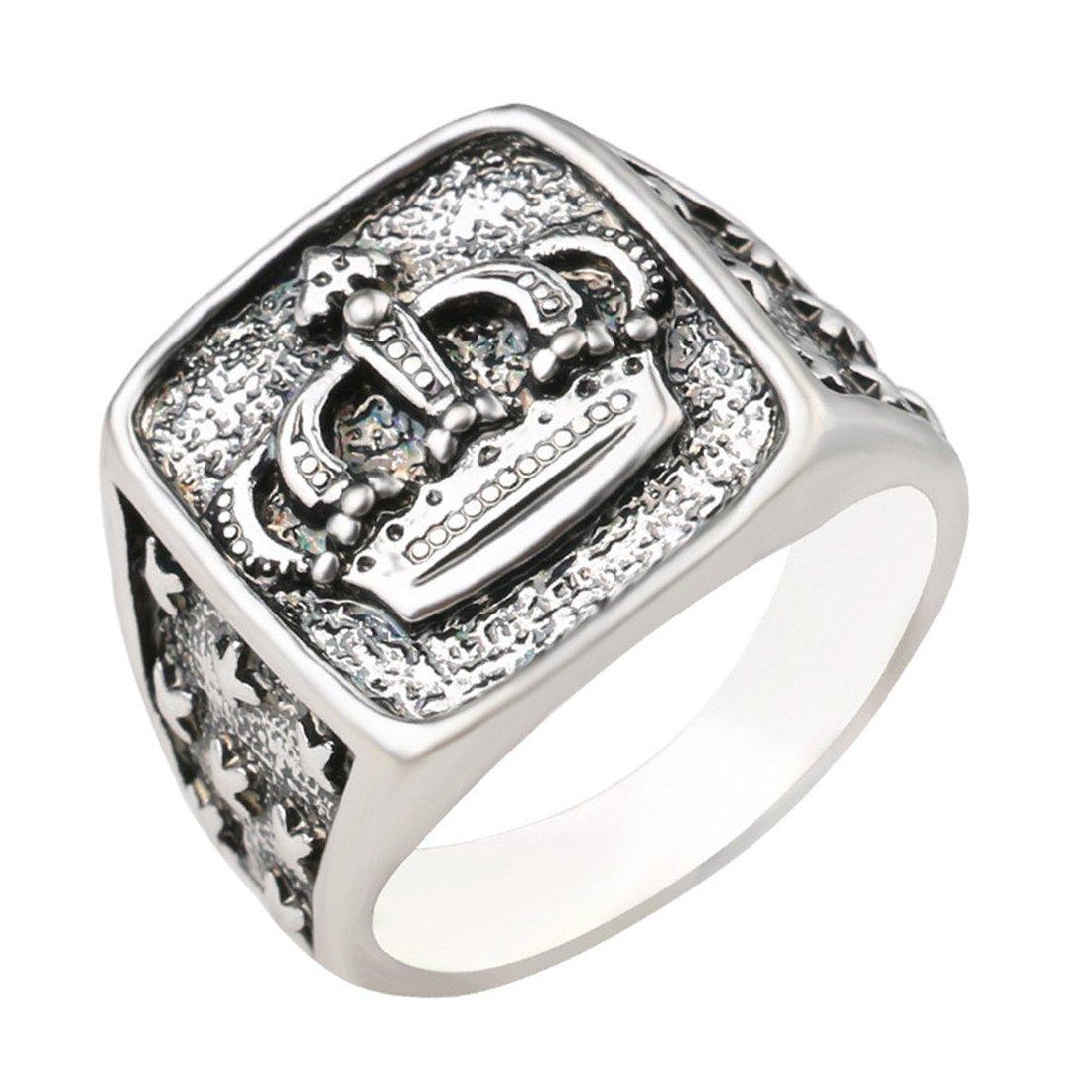 DALARAN Crown Ring para Mujeres Hombres Star Wide Band Silver Tone High Polished