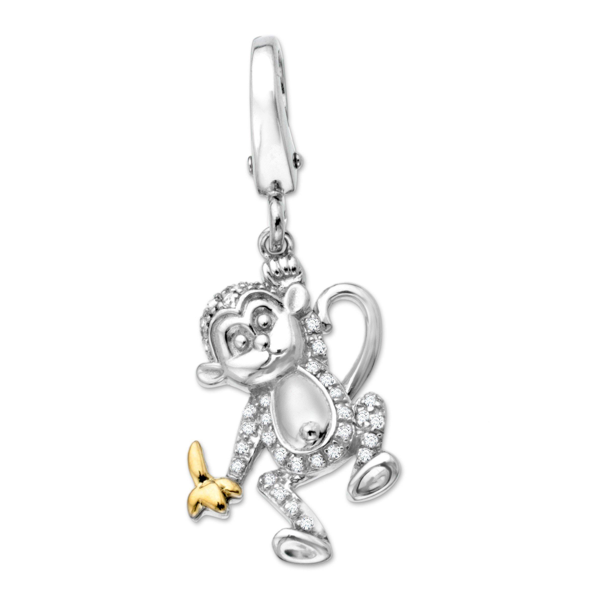 1/10 ct Diamond Monkey Charm in Sterling Silver & 14K Gold