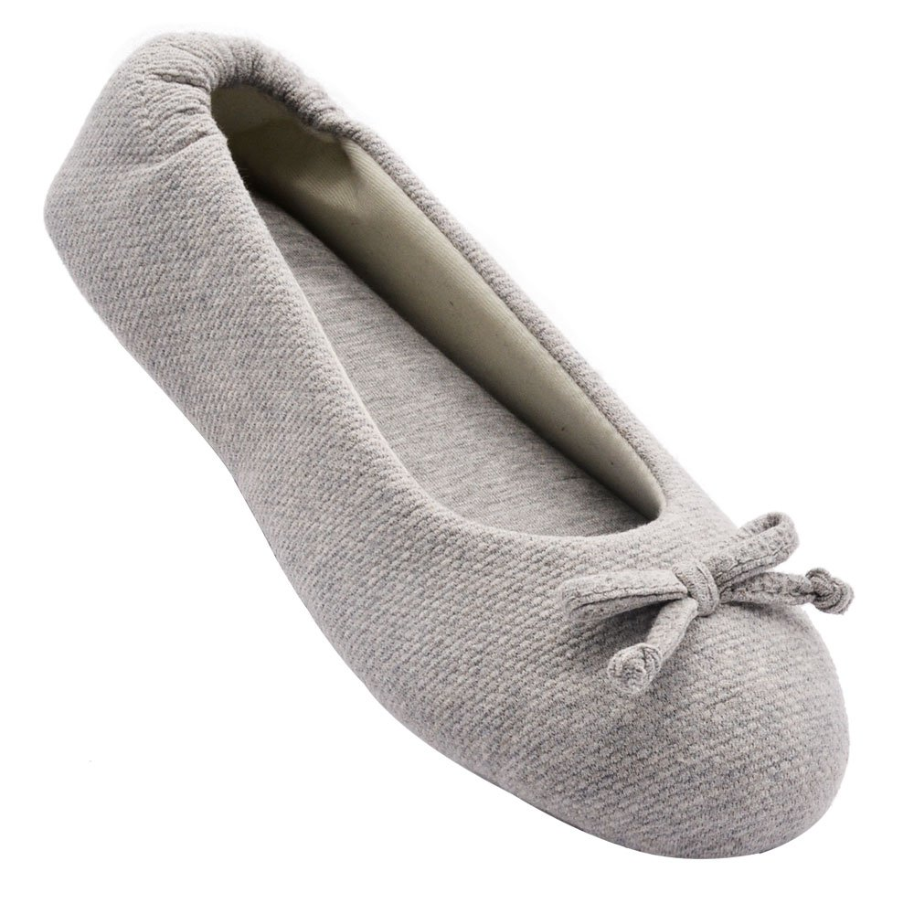 Wishcotton Women's Cozy Memory Foam Breathable Cotton Terry Lining Washable Ballerina Style Slippers Anti-Skid House Indoor Shoes (L, Light Grey)