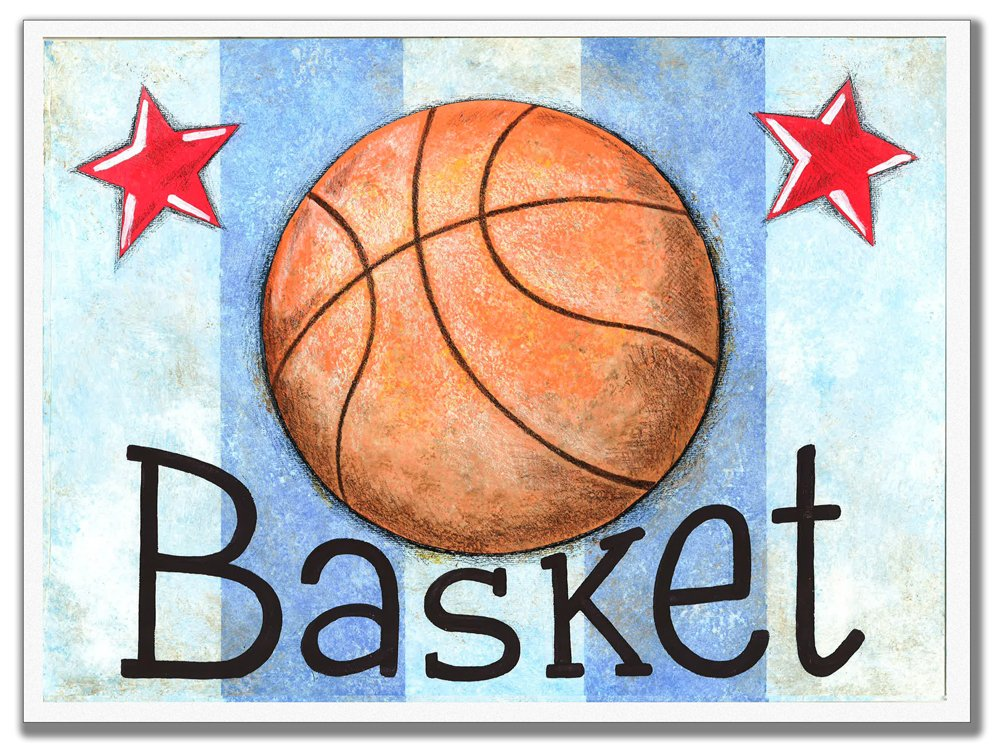 The Kids Room by Stupell Basket Basketball With Blue Stripes Rectangle Wall Plaque, 11 x 0.5 x 15, Proudly Made in USA