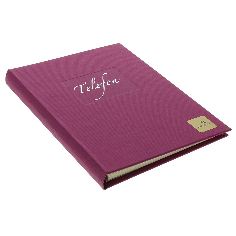 Goldbuch Telefonspiralbuch, A-Z, 17 x 23 cm, Kunstdruck gerippt mit Silberprägung, Seda, Braun, 62050