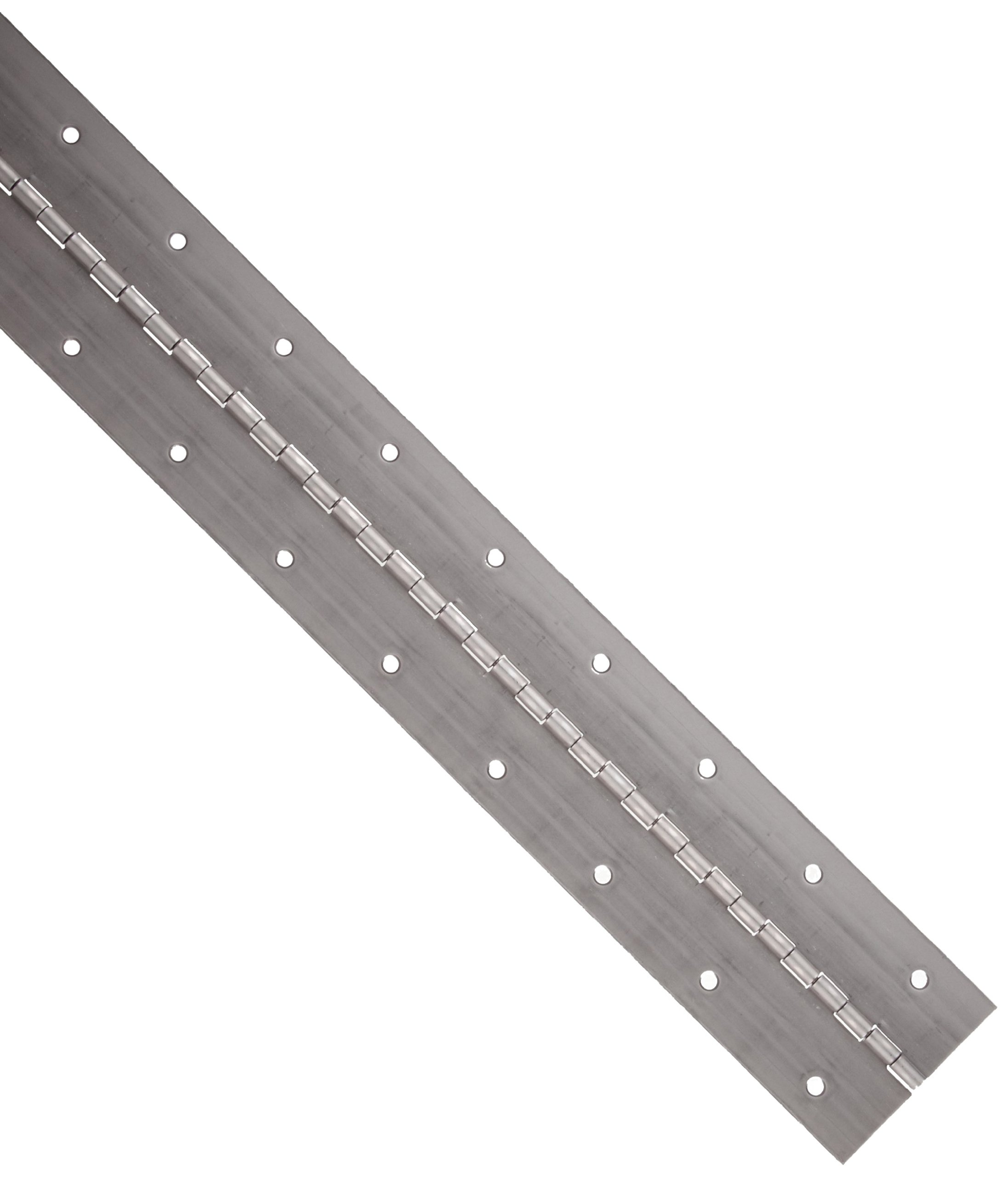 Steel Plain Continuous Hinge with Holes, Unfinished, 0.06'' Leaf Thickness, 2'' Open Width, 1/8'' Pin Diameter, 1/2'' Knuckle Length, 4' Long (Pack of 1)