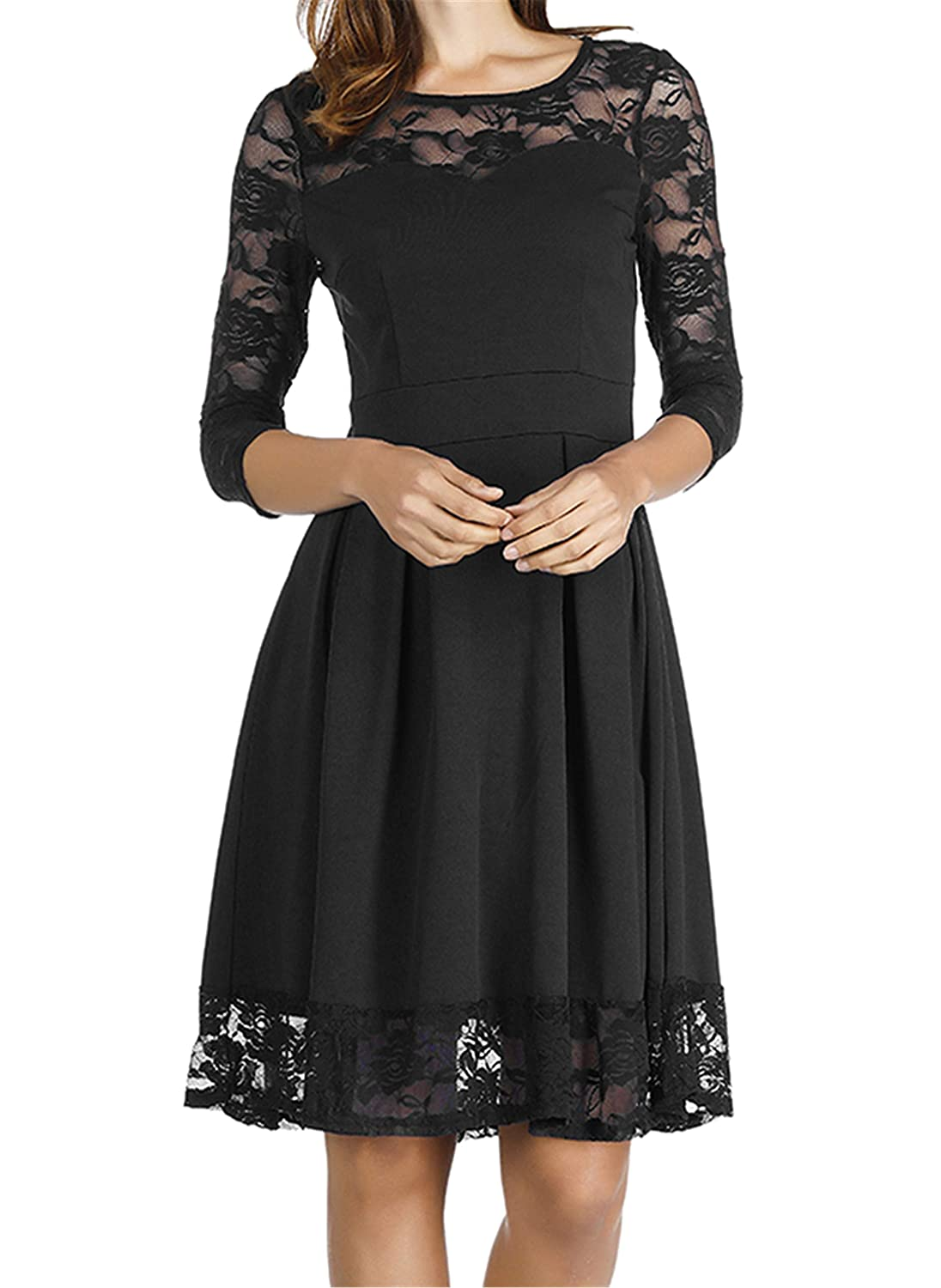 Akivide Womens Sleeveless 34 Sleeve Cocktail Lace Wedding Guest
