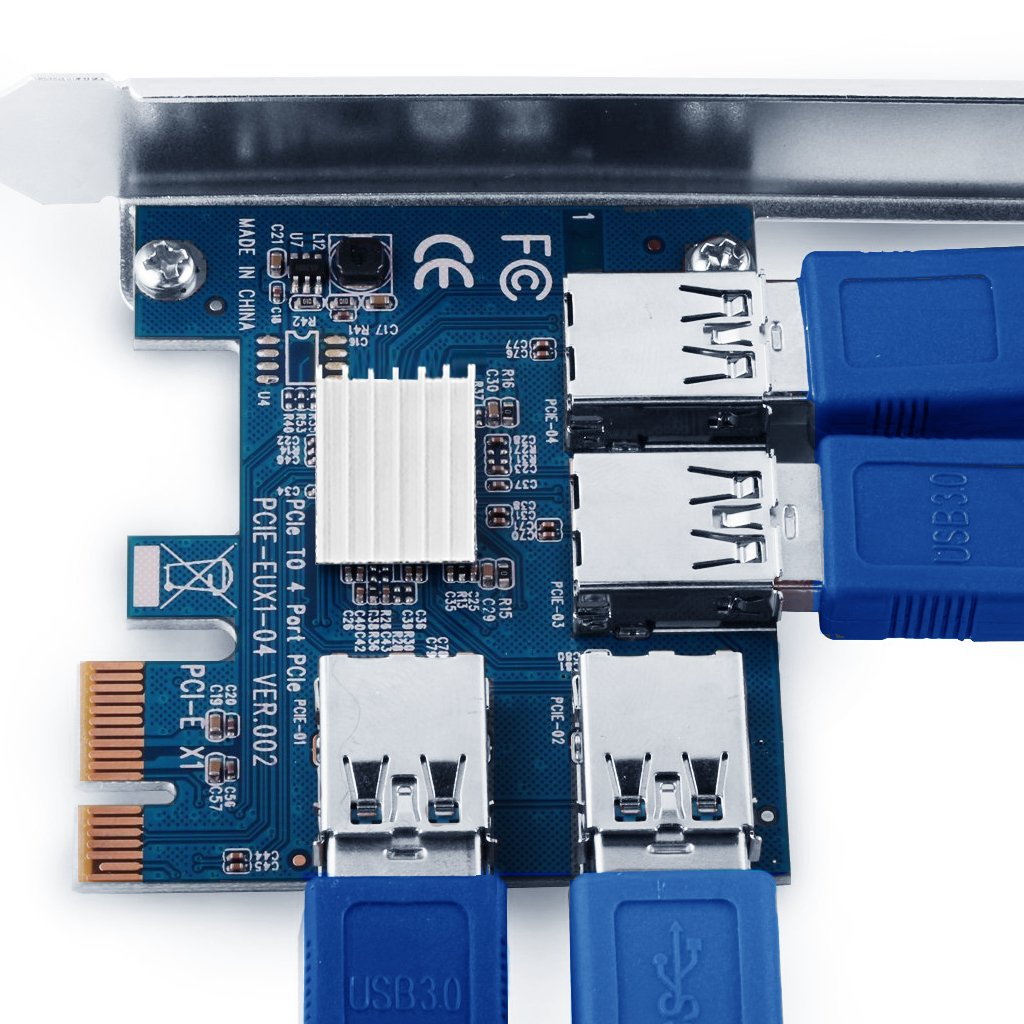 9daysminer PCI-E to 4 Port USB3.0 Expansion Card Adapter X1 Riser Miner Card PCI Express Extender Adapter Board for Ethereum (ETH) Mining by 9daysminer (Image #7)