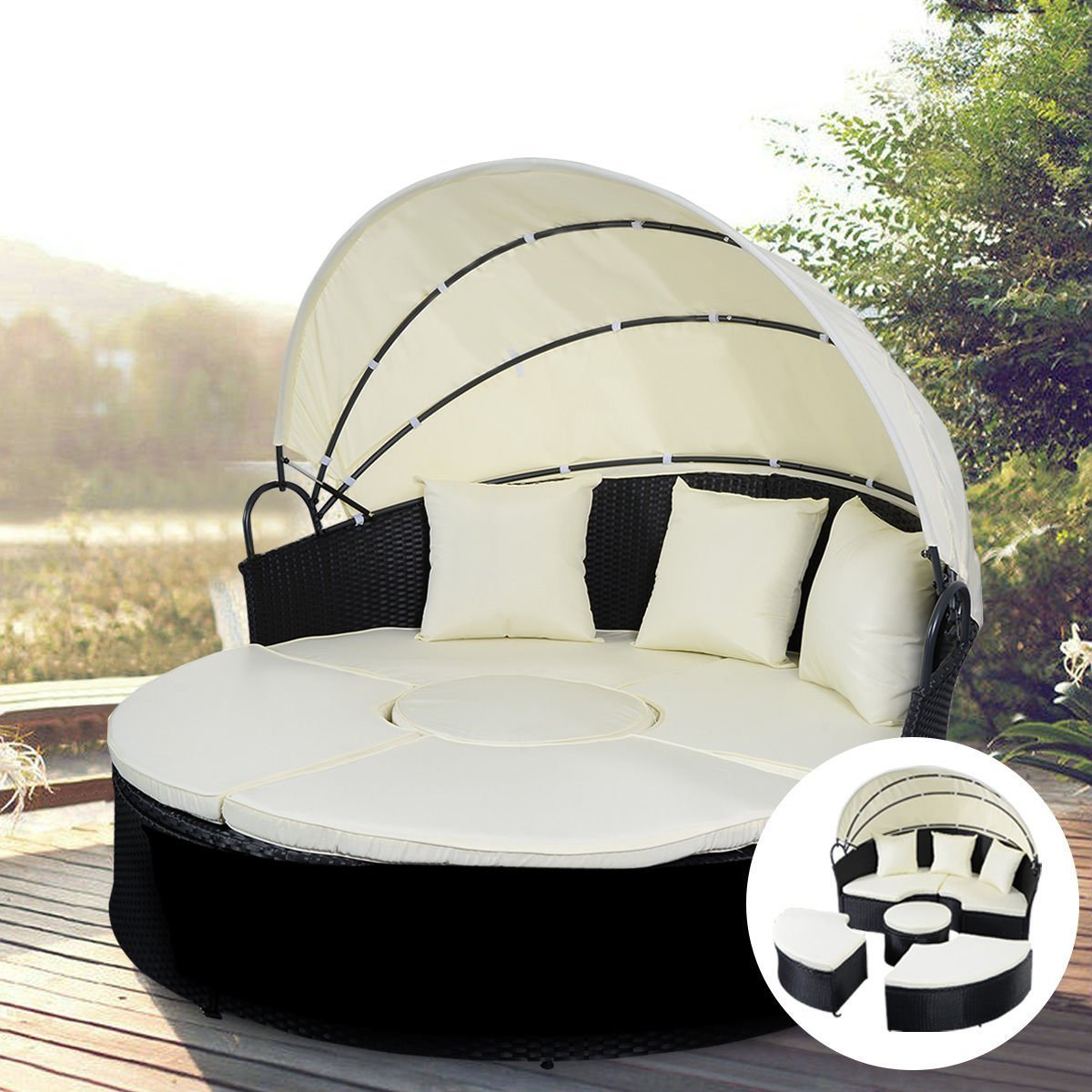 Amazon.com : Tangkula Daybed Patio Sofa Furniture Round Retractable Canopy  Wicker Rattan Outdoor : Garden & Outdoor