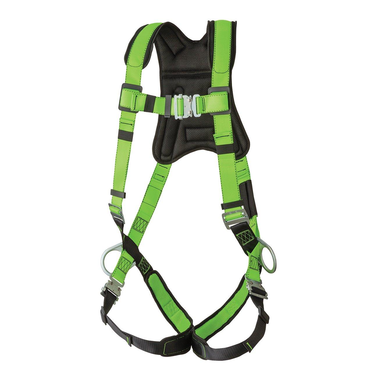 Peakworks V8006110 Peak Pro Series, Full Body Padded Safety Harness, Back D-Ring, (2) Side D-Rings, Stab Lock, Polyester, Universal, Green