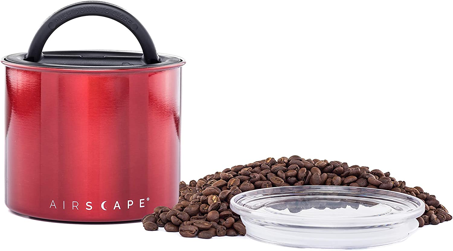 Airscape Coffee and Food Storage Canister - Patented Airtight Lid Preserve Food Freshness, Stainless Steel Food Container, Candy Apple Red, Small 4-Inch Can