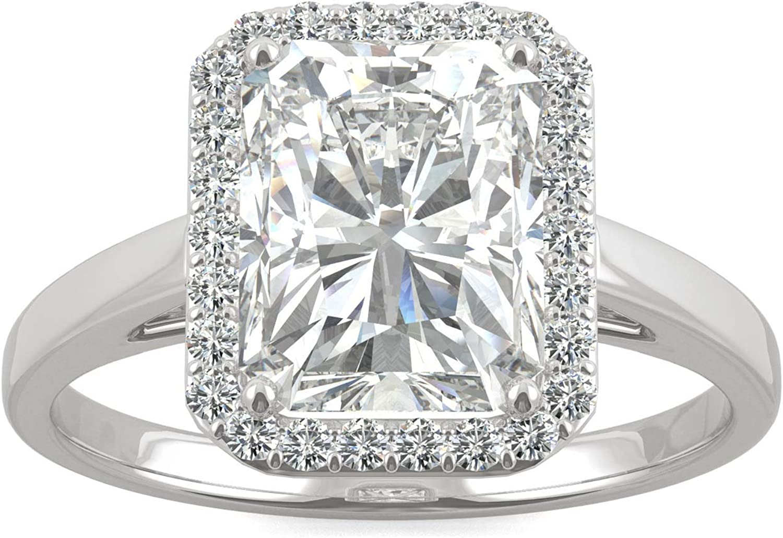 Charles & Colvard Forever One anillo de compromiso - Oro blanco 14K - Moissanita de 9.0 mm de talla Radiant, 2.908 ct. DEW