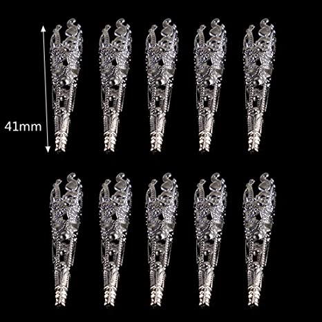 Beioust 10Pc Antique Silver Flower Carved Resin Crystal Pendulum Bead Cap Jewelry Making