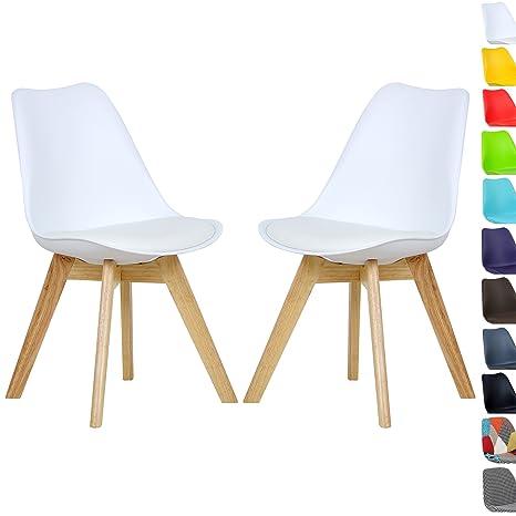 Woltu 2 x sillas de Comedor Silla de Comedor diseño Silla de Madera ...
