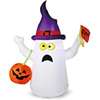 Joiedomi Halloween 5 FT Inflatable Ghost with Boo Flag with Build-in LEDs Blow Up Inflatables for Halloween Party Indoor, Outdoor, Yard, Garden, Lawn Decorations
