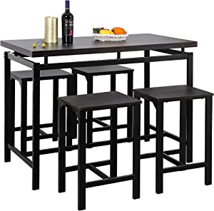 SSLine 5-Piece Counter Height Table and Chair Set,Dining Pub Kitchen Bar Table Set with 4 Compact Bar Stools,Industrial Kitchen Table Set and Chairs Home Kitchen Breakfast Table,Espresso