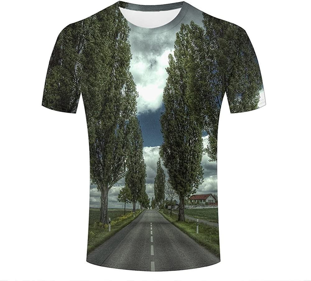WEIYI BO para Hombre 3D Printed Tees Natural Scenery Trees Graphic Short Sleeve T-Shirts