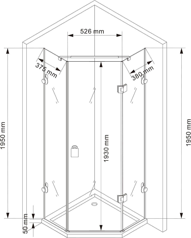 Cabina de ducha Pentágono ducha Nano EchtGlas EX415 – 80 x 80 x ...