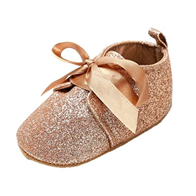 Newborn Baby Girl Boys Sequins Leopard Up Slip Lace Bow Tie Sneaker