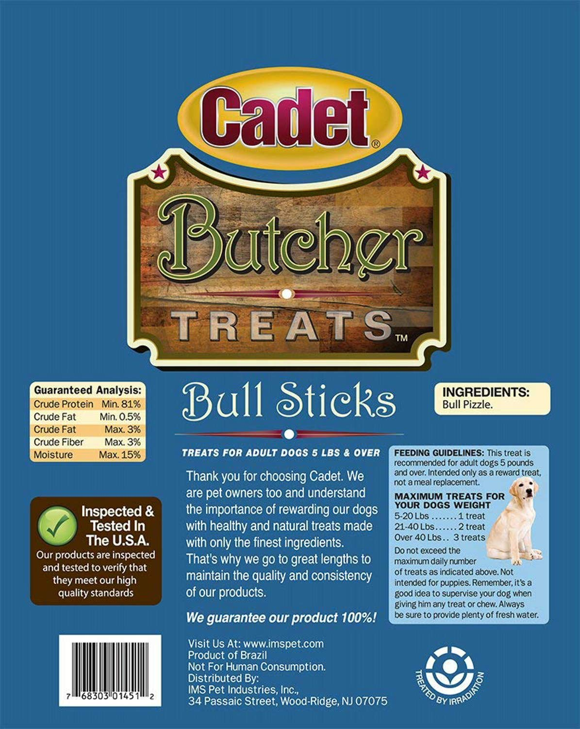 Cadet Butcher Treats Bull Sticks for Adult Dogs 5 Pounds and Over 1 Pound Bag