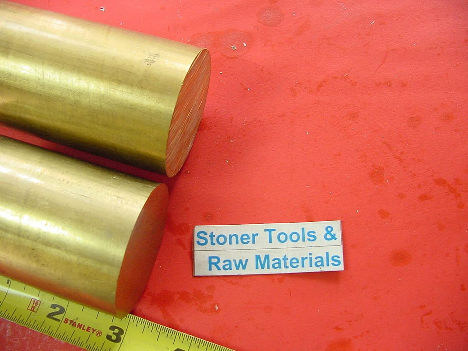 """2 Pieces 1-3/4"""" C360 BRASS ROUND ROD 3"""" long Solid 1.75"""" OD H02 Lathe Bar Stock"""