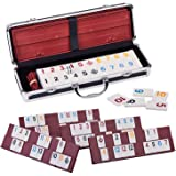Rummy 106 Tiles Rummy with 4 Sturdy Racks& Instructions Rummy Tiles with Aluminum Case Suit for 2-6 Players
